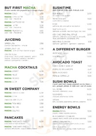 Menu Macha Cafe