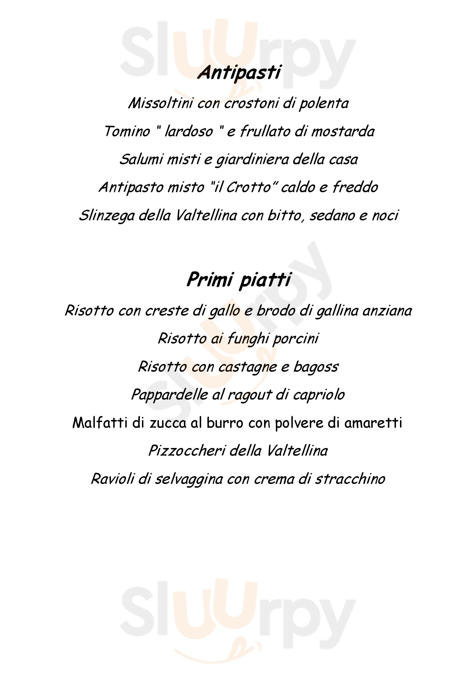 Crotto Civiglio Como menù 1 pagina