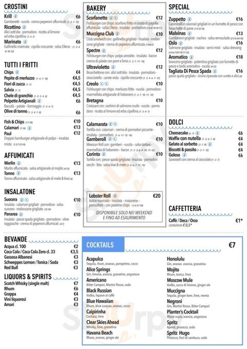 Menu Fish Bar  La Muccigna