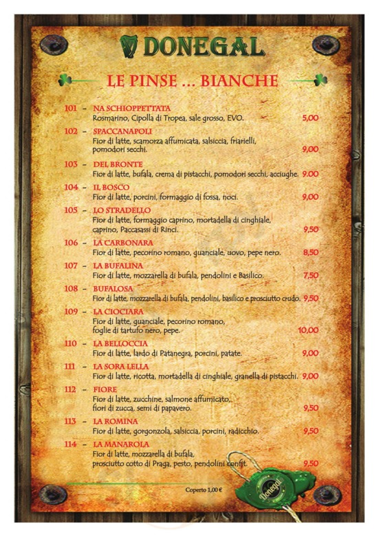 Menu Donegal Irish Pub