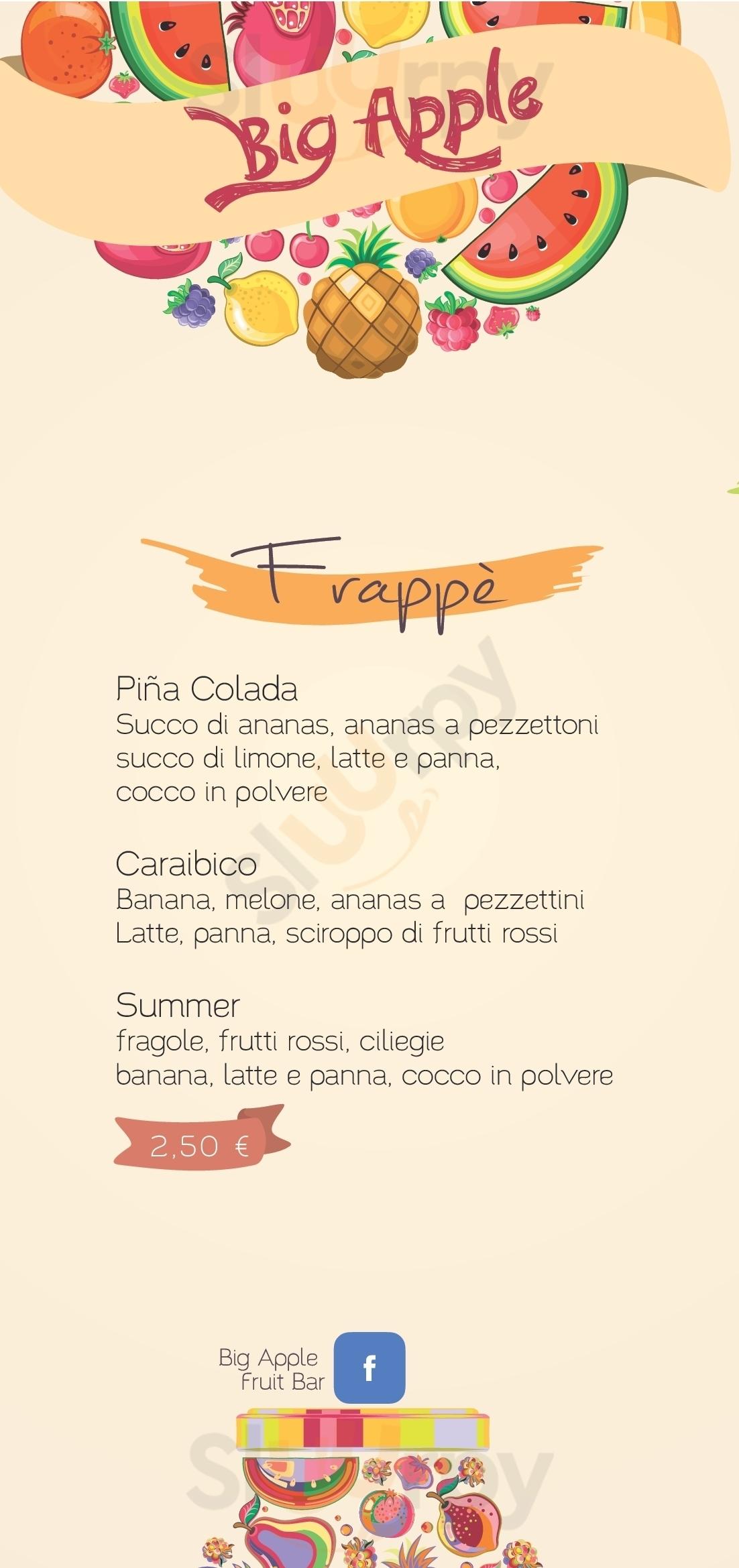 Big Apple Fruit Bar Corato menù 1 pagina