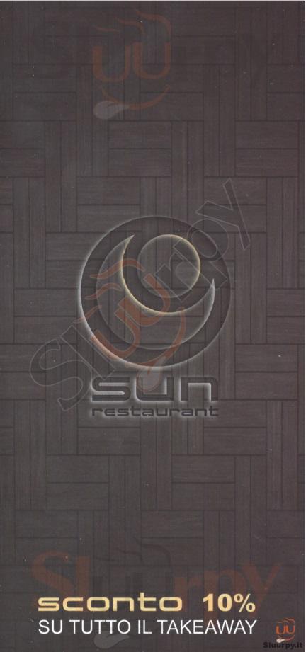 Sun Restaurant Milano menù 1 pagina