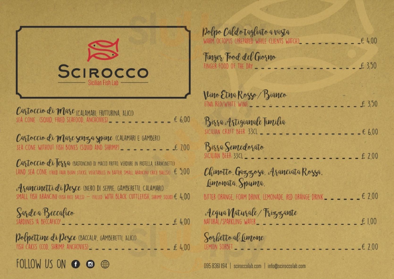 Scirocco Sicilian Fish Lab Catania menù 1 pagina