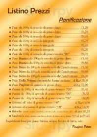 Menu Panificio Pilato