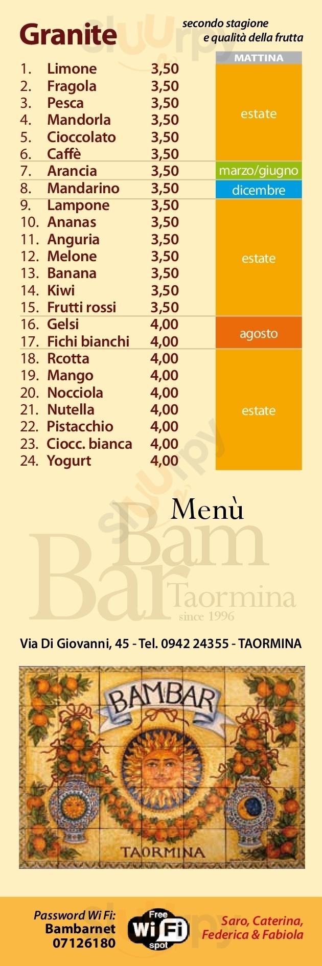 Bam Bar Taormina menù 1 pagina
