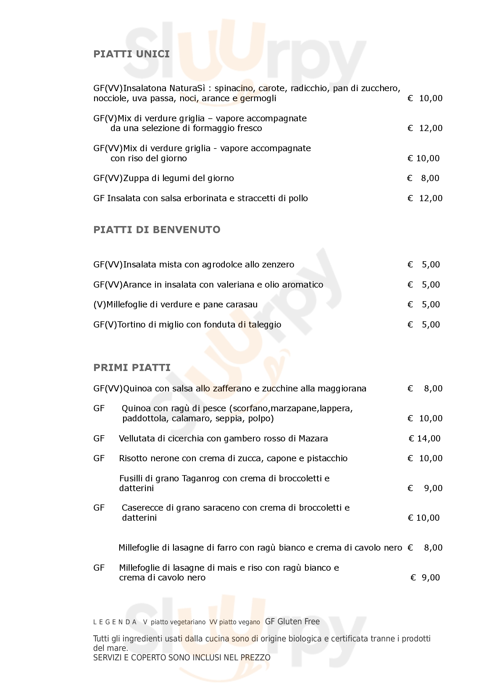 NaturaSì Cucina biologica Catania Catania menù 1 pagina