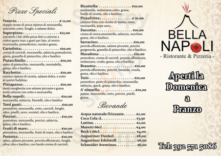 Menu Pizzeria Bella Napoli