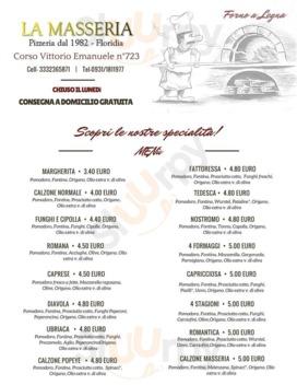 "Menu Pizzeria La Masseria ""dal 1982"""