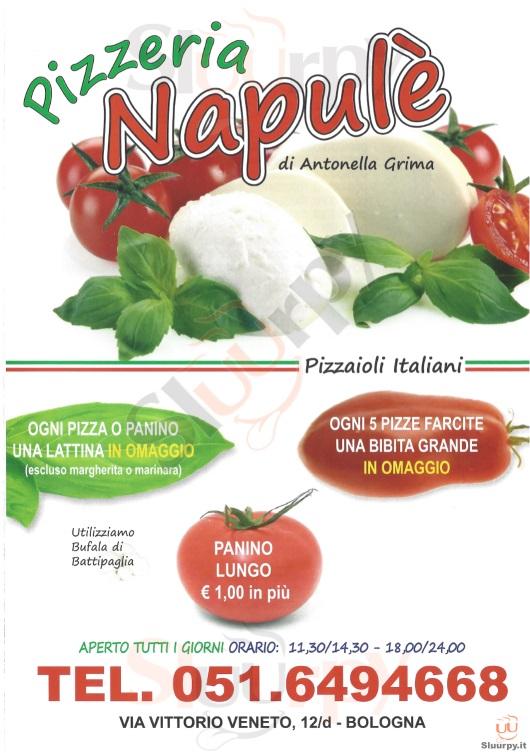 NAPULE' Bologna menù 1 pagina