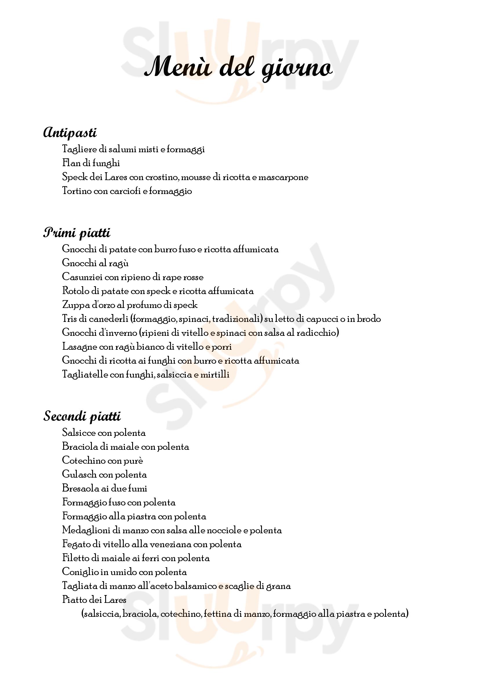 Ai Lares Auronzo di Cadore menù 1 pagina
