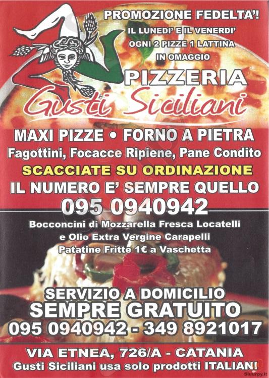 GUSTI SICILIANI Catania menù 1 pagina