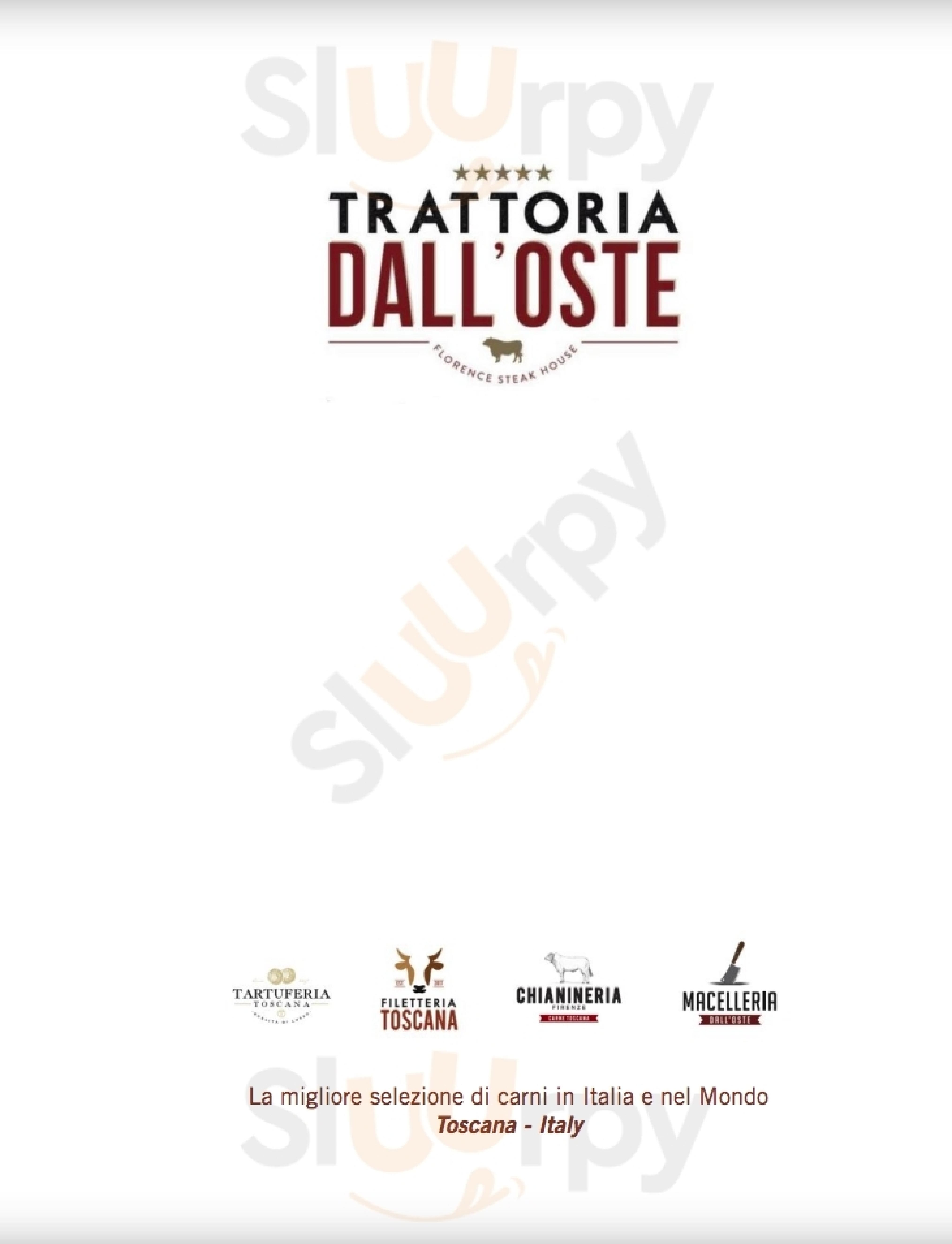 TRATTORIA DALL'OSTE BISTECCA FIORENTINA CHIANINA Firenze menù 1 pagina