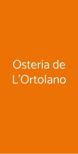 Osteria De L'ortolano, Firenze