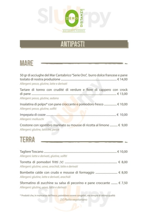 Menu Zero Distanze