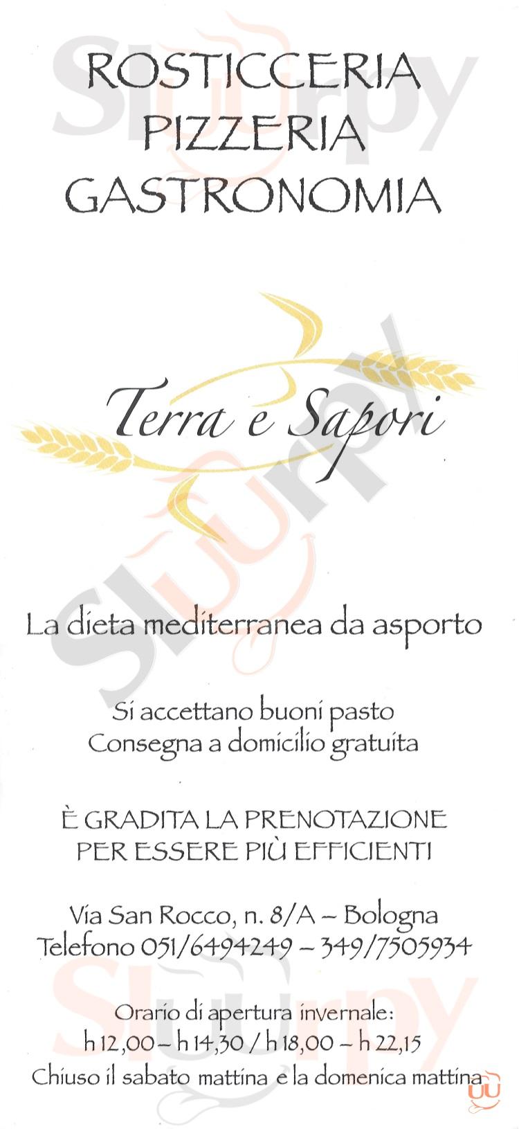 Terra dei Sapori Bologna menù 1 pagina