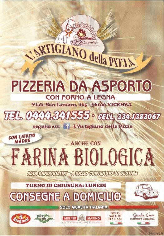 L'ARTIGIANO DELLA PIZZA Vicenza menù 1 pagina