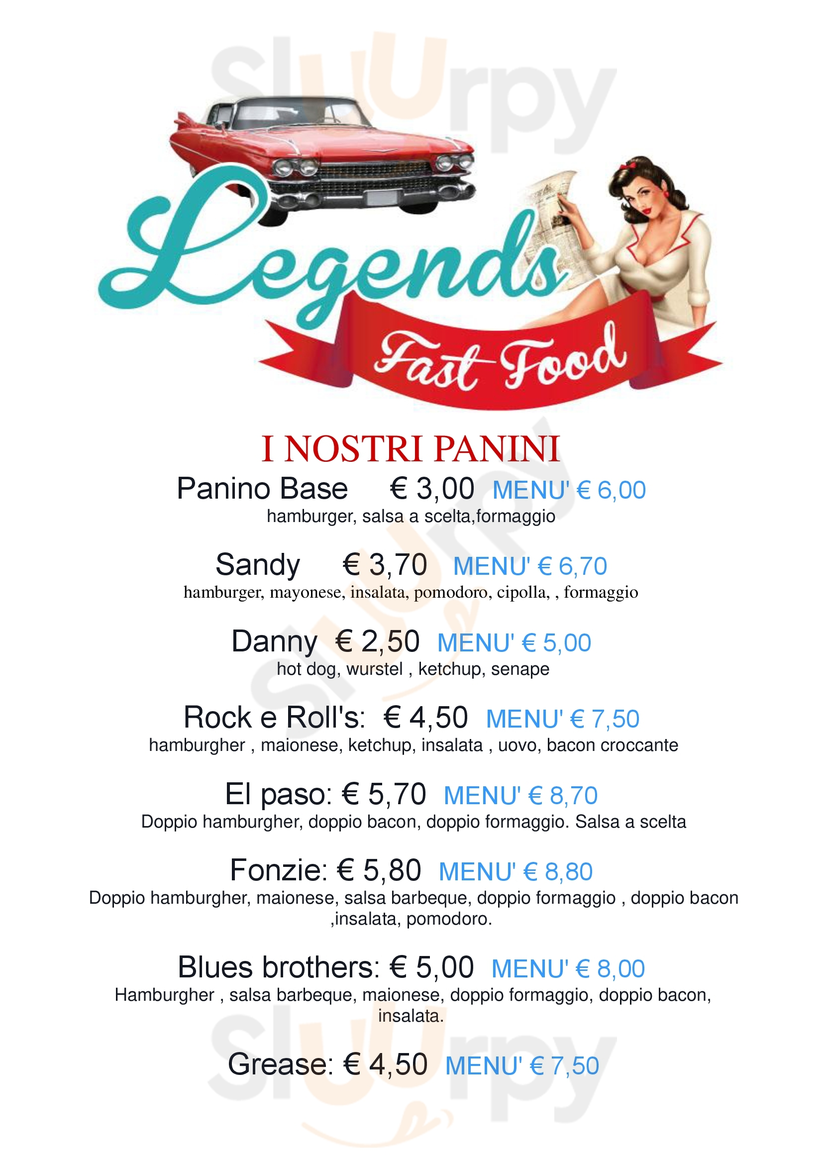 legends fast food Lonigo menù 1 pagina