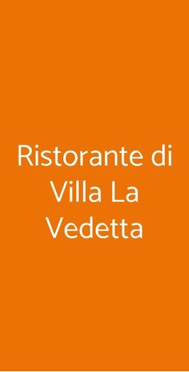 Menu Ristorante di Villa La Vedetta
