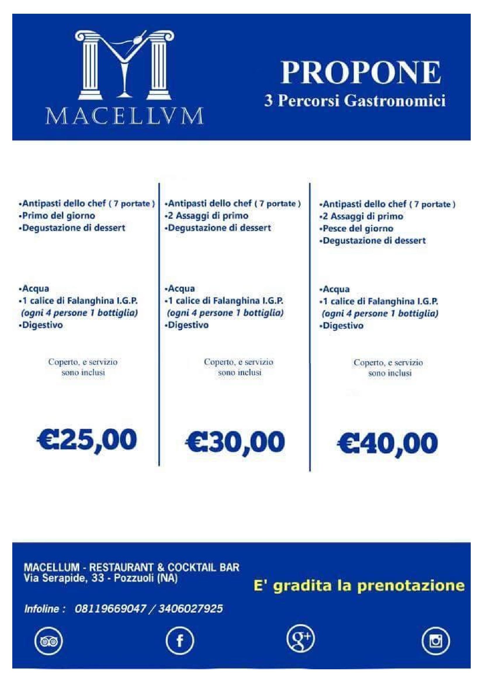 Macellum Restaurant Pozzuoli menù 1 pagina