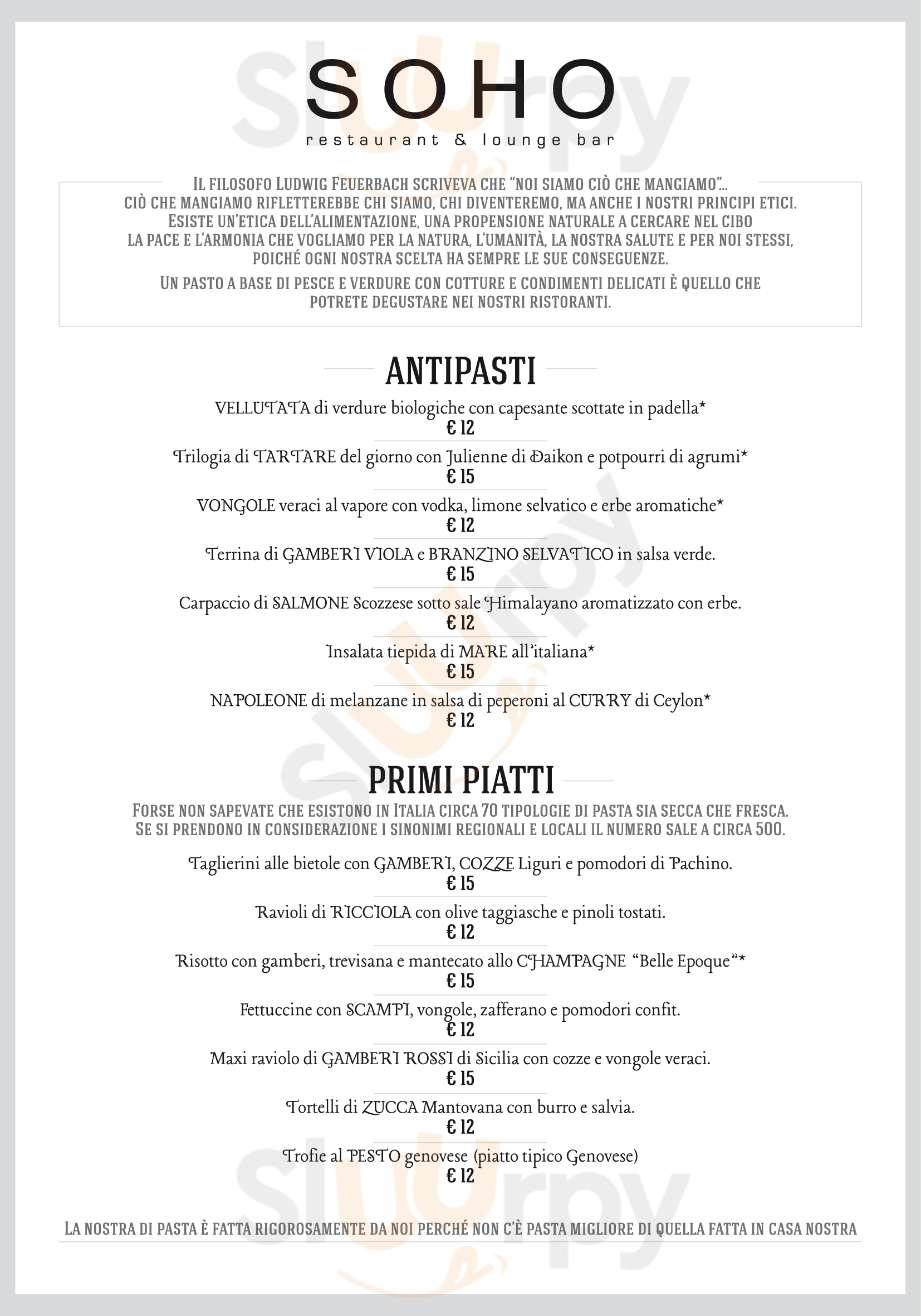 Soho Restaurant Genova menù 1 pagina