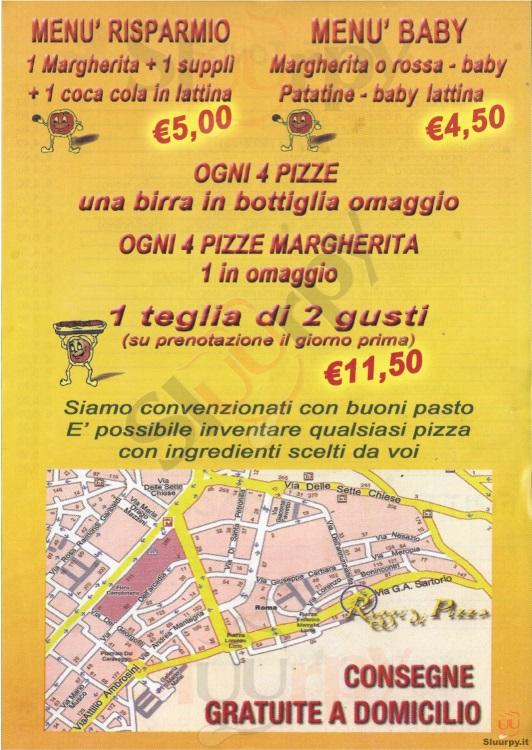 RAGGI DI PIZZA Roma menù 1 pagina