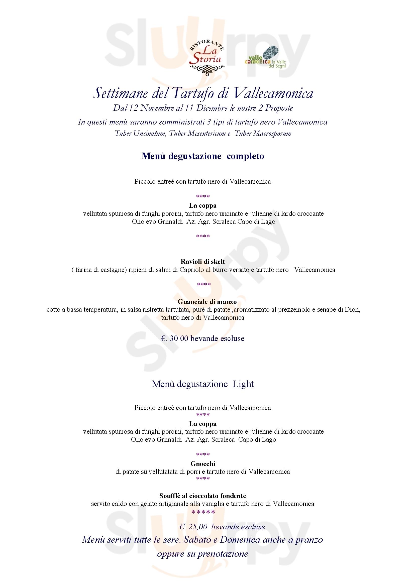 La Storia Darfo Boario Terme menù 1 pagina