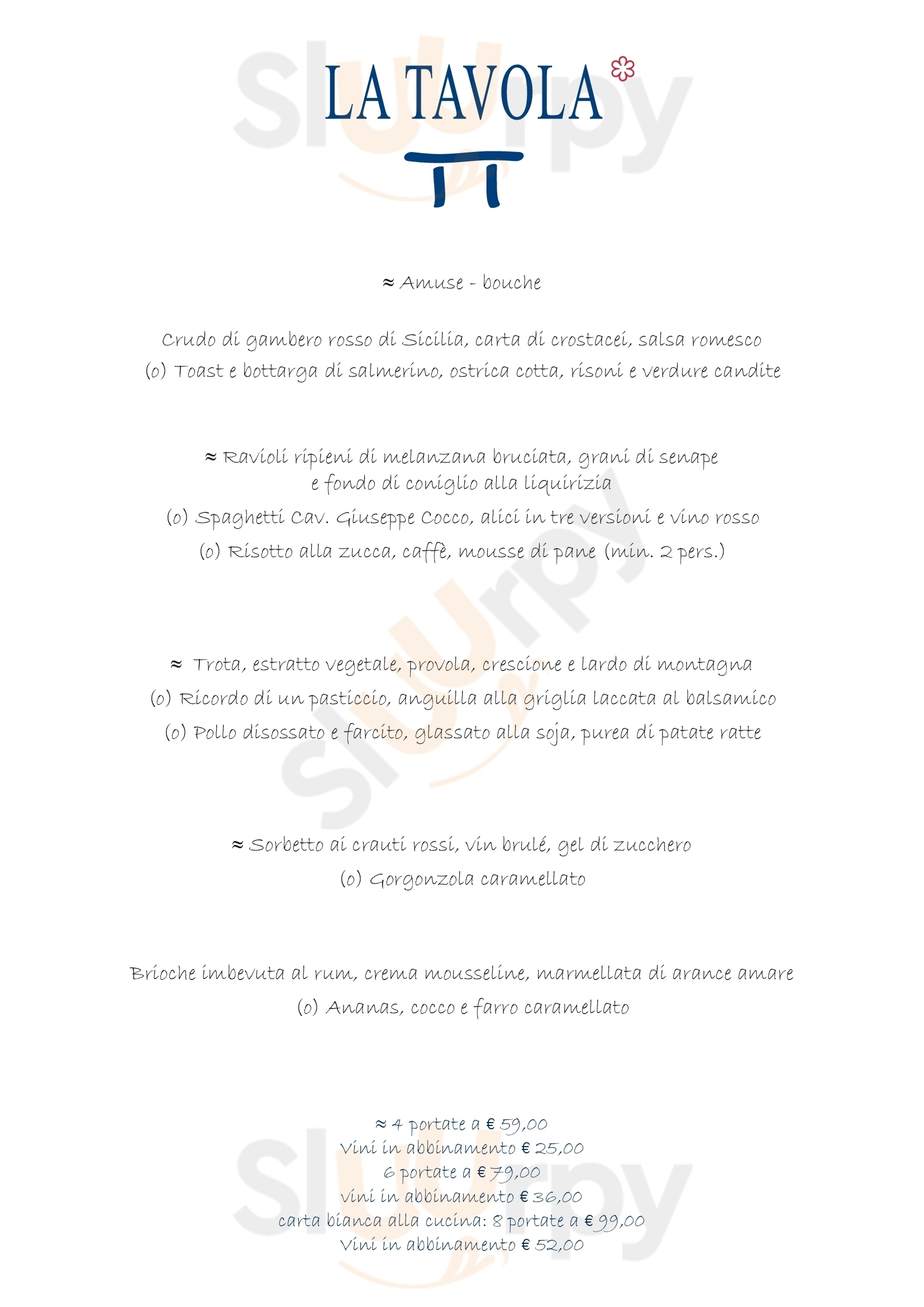 La Tavola Laveno-Mombello menù 1 pagina