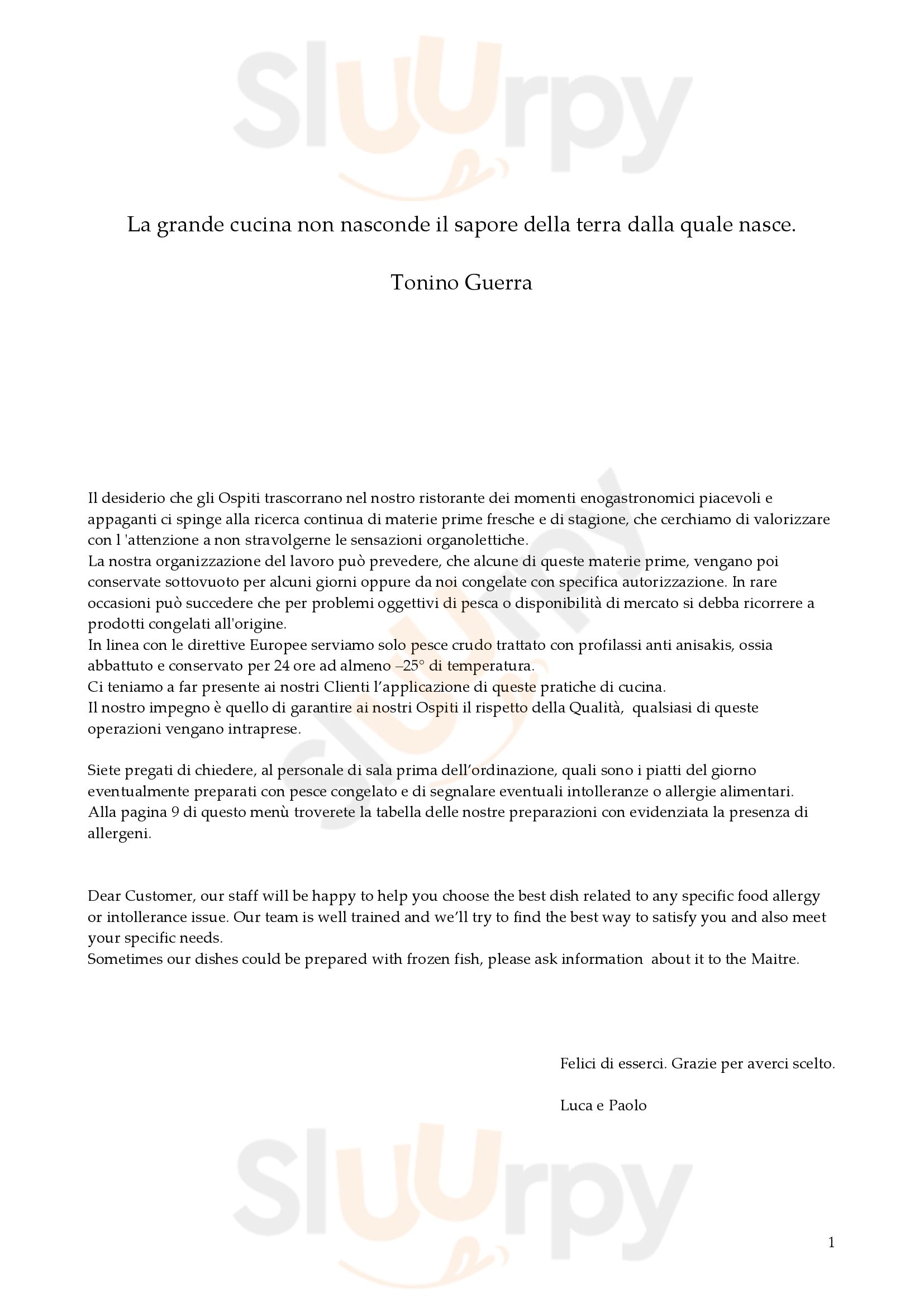 Guido Rimini menù 1 pagina