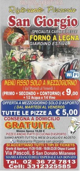 Menu Ristorante Pizzeria San Giorgio