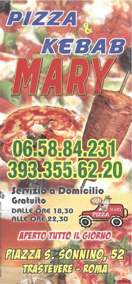 PIZZA & KEBAB MARY Roma menù 1 pagina