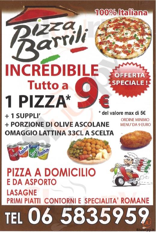PIZZA BARRILI Roma menù 1 pagina