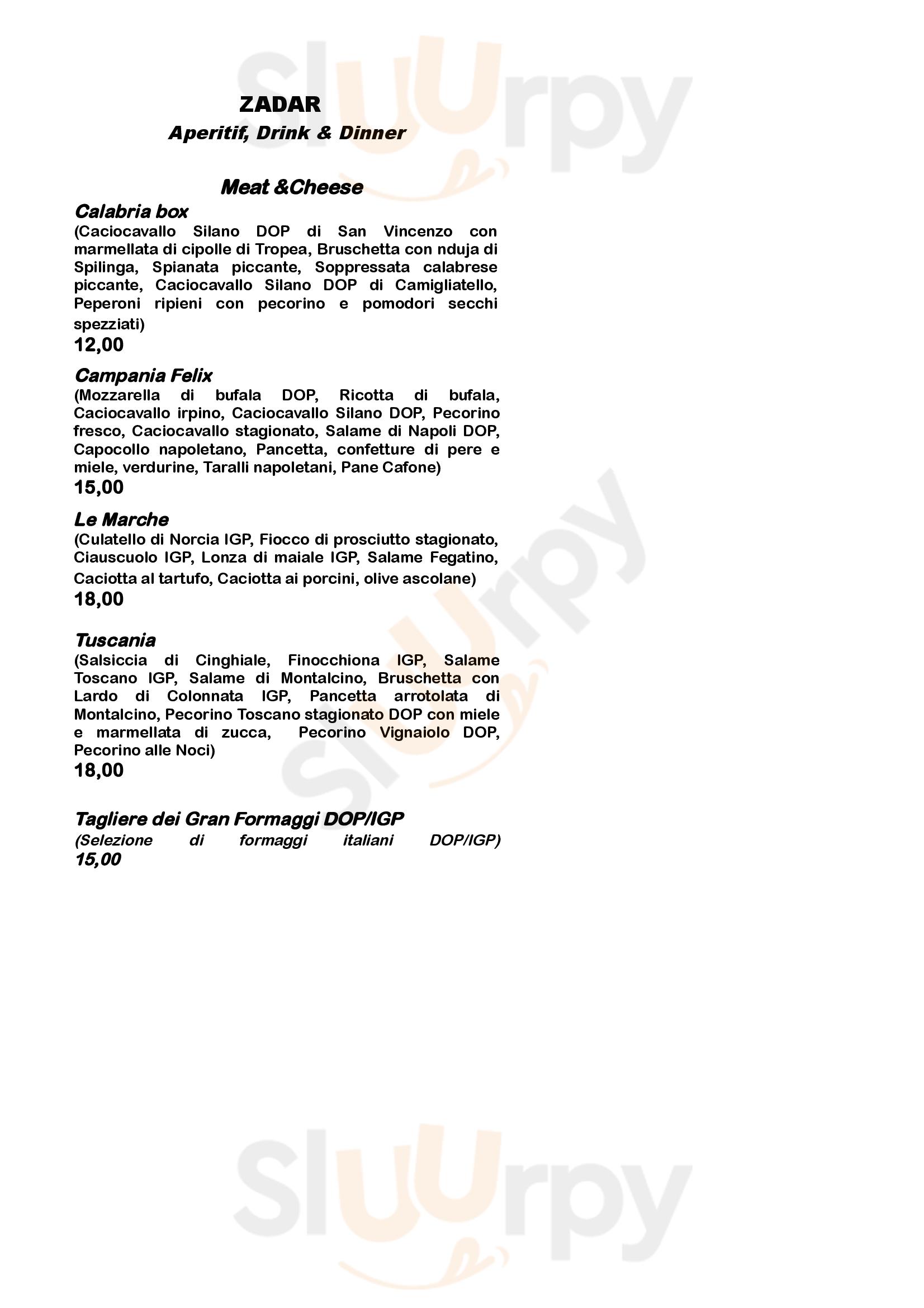 Zadar Bar Bistrot Napoli menù 1 pagina