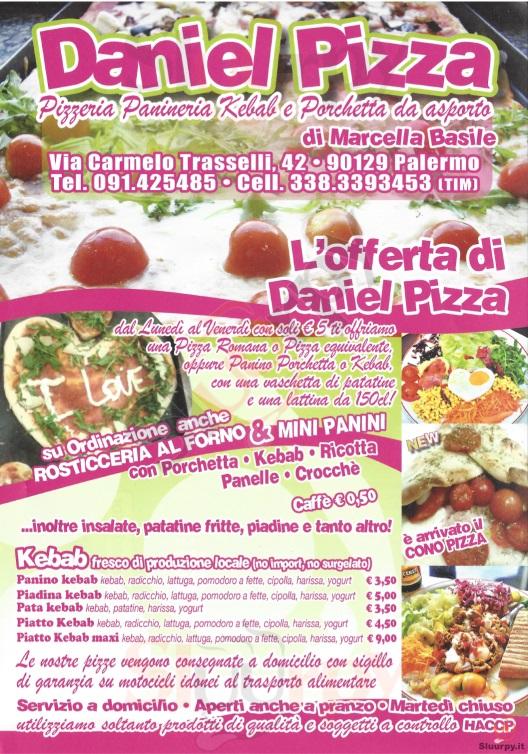 DANIEL PIZZA Palermo menù 1 pagina