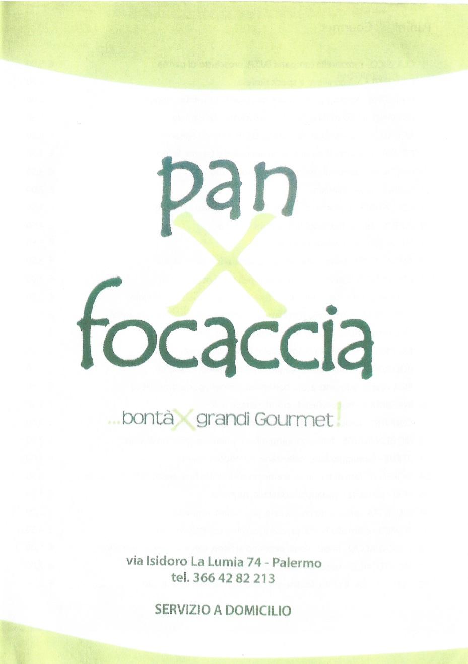 PAN X FOCACCIA Palermo menù 1 pagina