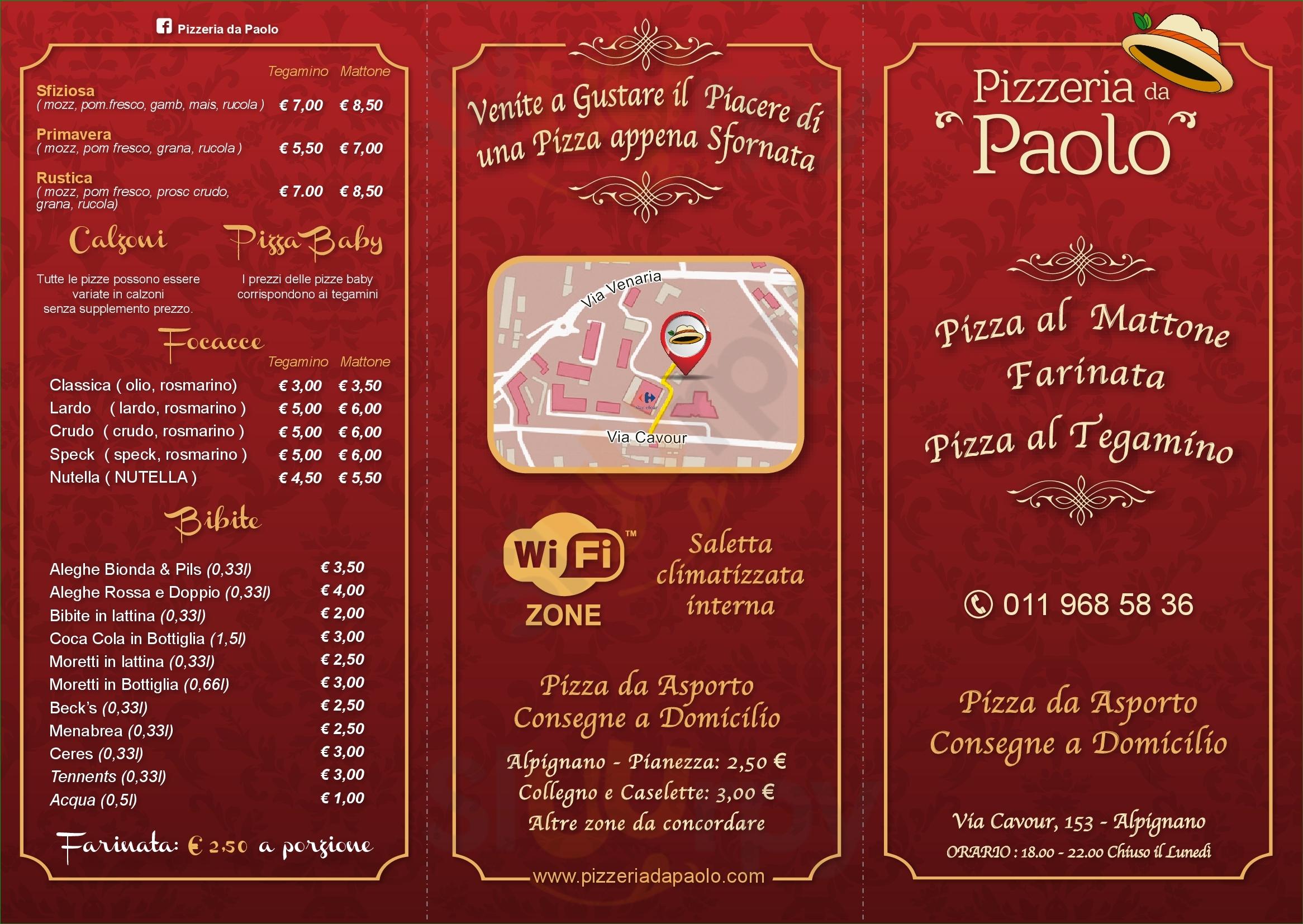 Pizzeria da Asporto da Paolo Alpignano menù 1 pagina