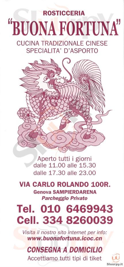 BUONA FORTUNA Genova menù 1 pagina