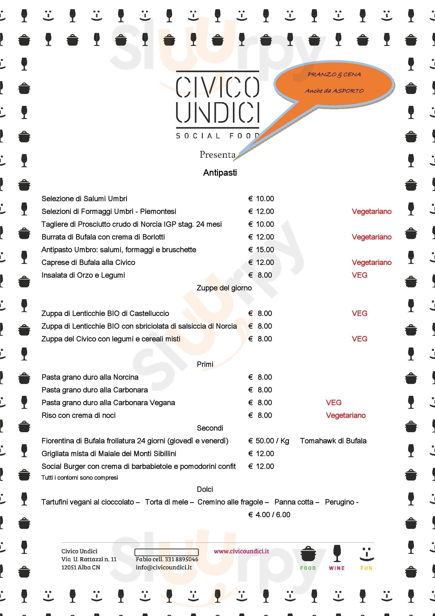 Civico Undici Social Food Alba menù 1 pagina