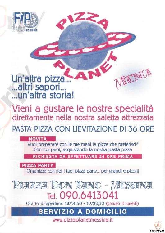 PIZZA PLANET Messina menù 1 pagina