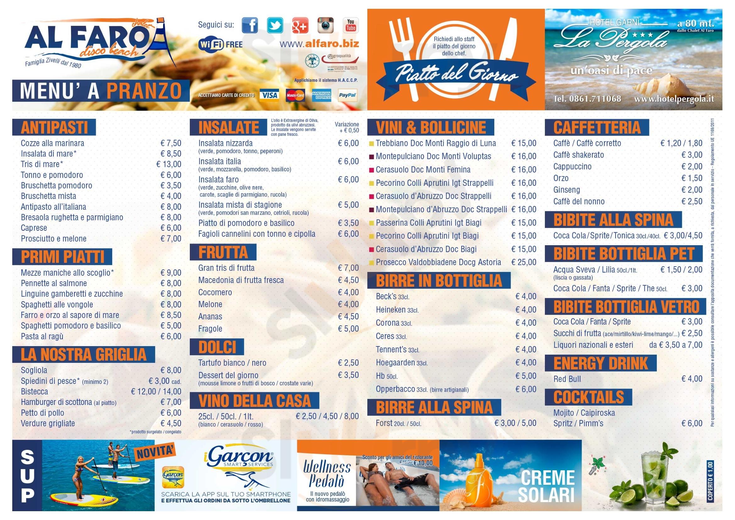 Al Faro Alba Adriatica menù 1 pagina