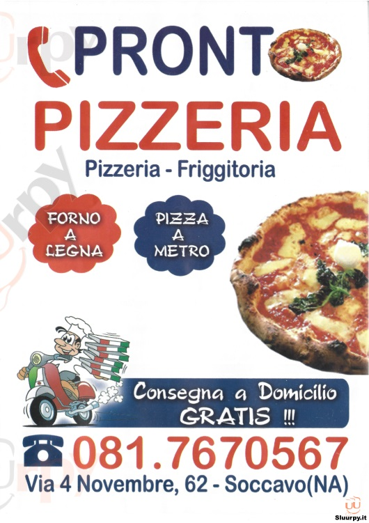 PRONTO PIZZERIA, Via IV Novembre Napoli menù 1 pagina