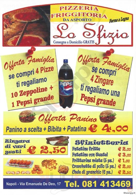 LO SFIZIO Napoli menù 1 pagina