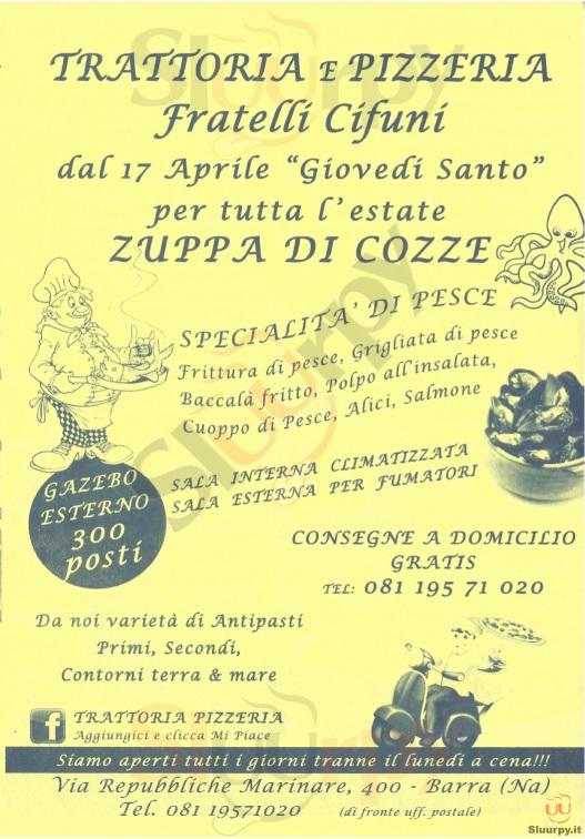 FRATELLI CIFUNI Napoli menù 1 pagina