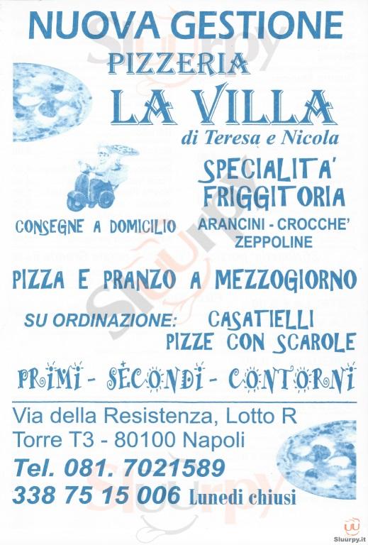 LA VILLA Napoli menù 1 pagina