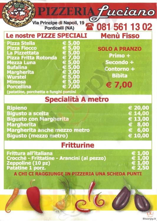 LUCIANO Napoli menù 1 pagina