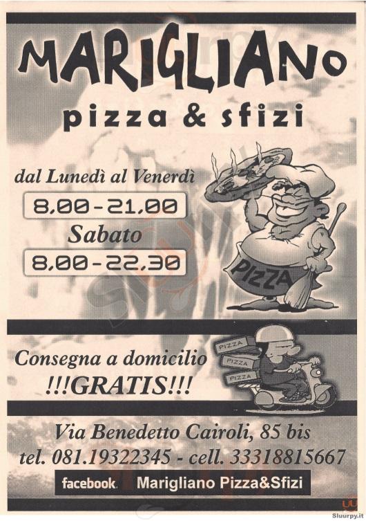MARIGLIANO PIZZA & SFIZI Napoli menù 1 pagina