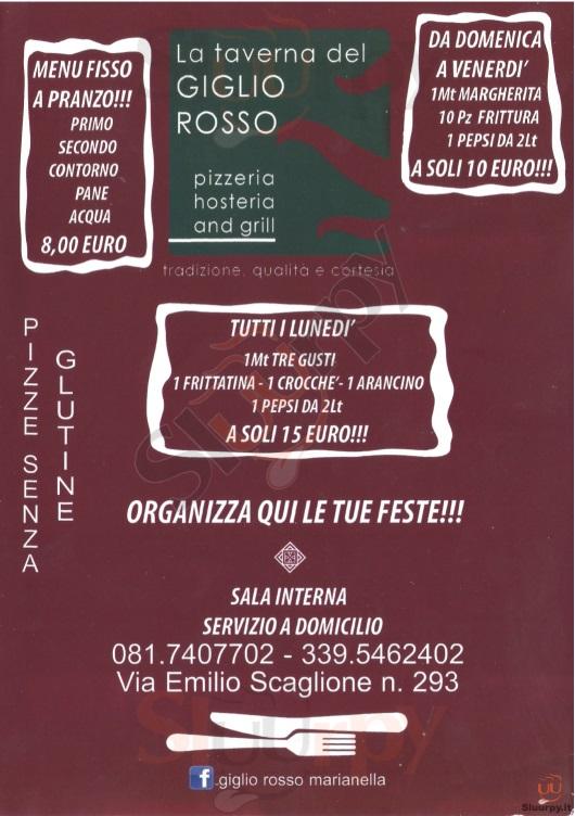 LA TAVERNA DEL GIGLIO ROSSO Napoli menù 1 pagina