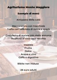 Menu Agriturismo Monte Maggiore