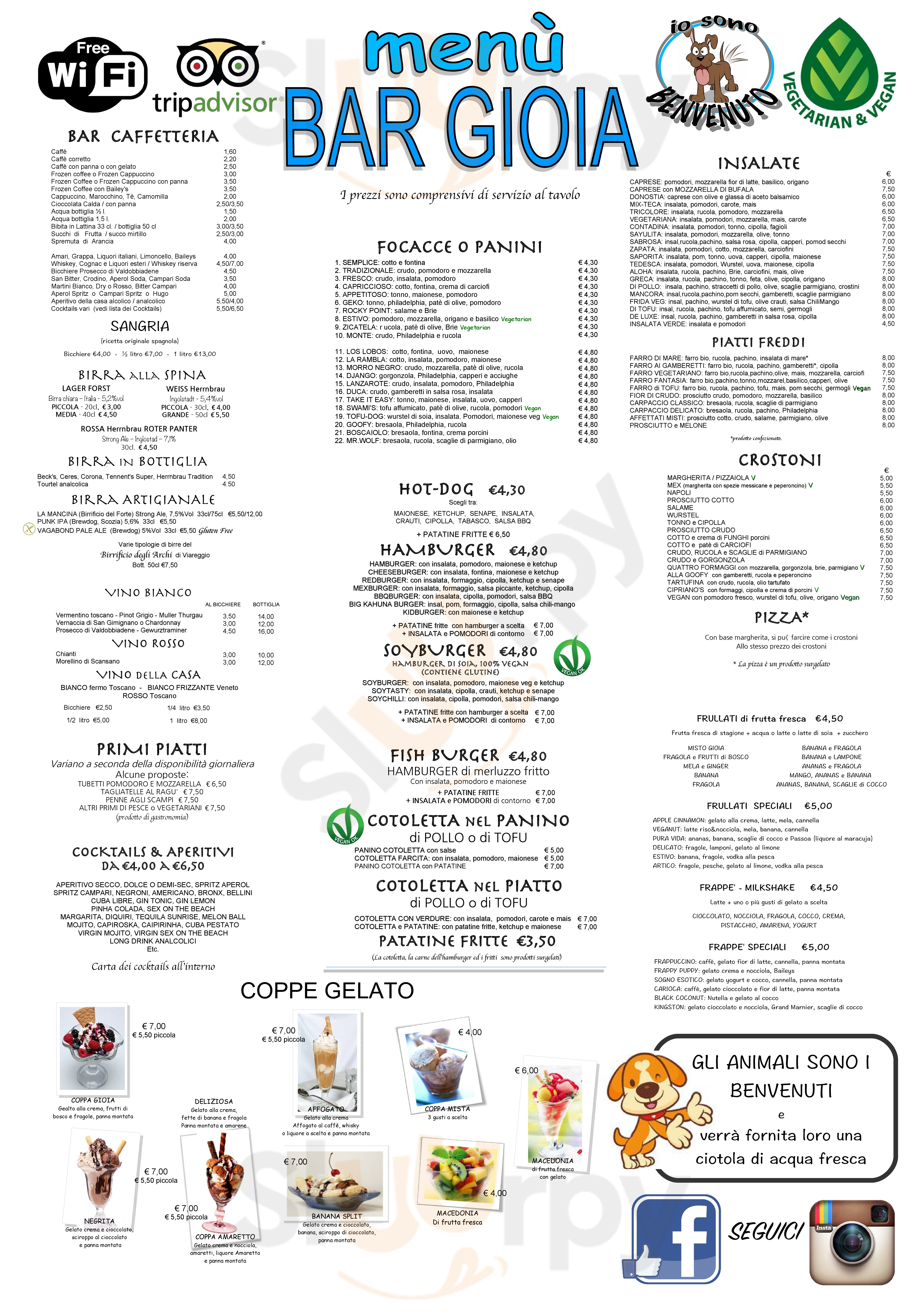 Bar Gioia Camaiore menù 1 pagina