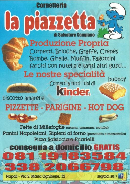 CORNETTERIA LA PIAZZETTA Napoli menù 1 pagina