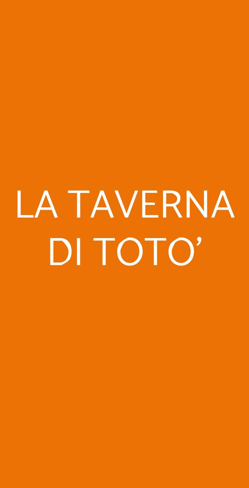 LA TAVERNA DI TOTO' Napoli menù 1 pagina